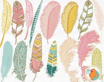 Aztec Feather ClipArt, Hand Drawn Tribal Clip Art, Girl Graphics, Pink, Teal & Yellow Feather Silhouette, DIY Trendy Digital Image