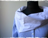 Blue and White Striped Seersucker Blouse, Womens Upcycled Clothing, Cowl Neck Shirt, Repurposed Button Up Shirt, Nautical Oxford Shirt