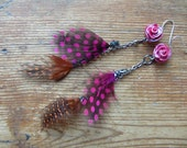 Orange and Pink Polka Dot Feather Earrings, Upcycled Jewelry, Eco Friendly Feather Earrings, Pink Metallic Roses, Gypsy Punk Glam Jewellery