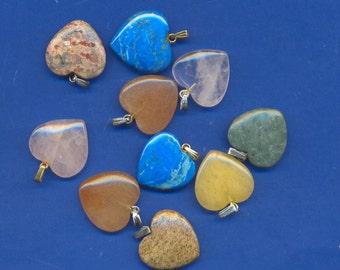 10 assorted gemstone hearts with bails, Lot 113