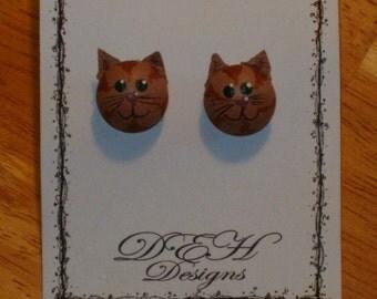 Tan Cat Post Earrings