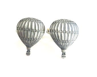 Hot Air Balloon Cuff Links- Sterling Silver Finish- Gifts For Men- Groomsmen Gifts- 2 Sizes Available