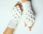 Crochet İvory Crocodile Stitch Fingerless Gloves, Women Crocodile Mitten, İvory Fingerless,  Winter Accessories