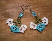 crochet earrings, turquoise white green