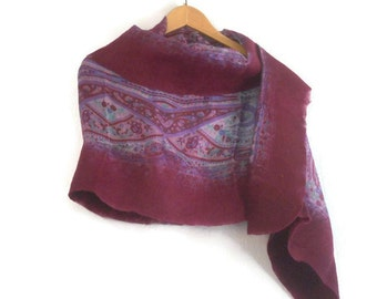 nuno felted silk shawl, plum