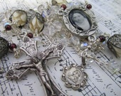 Victorian Style St. Therese Wrapped Loop Rosary with Vintage Cellulose Beads and Garnet Accents