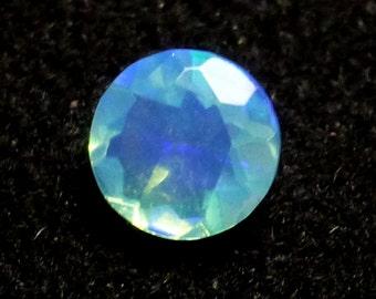 Welo Opal Loose Gemstone Light Blue Ethiopian 4mm Brilliant Cut Designer Carribean Aqua Turquoise Flash Glow Faceted Gemstone RARE Dyed One