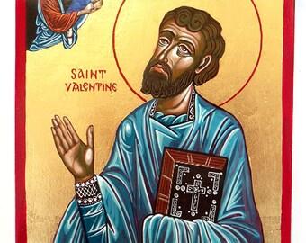 Saint Valentine Icon,  original  orthodox icon - 8 by 6 inches