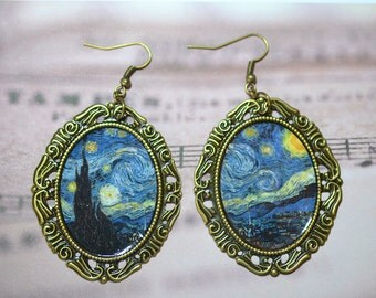 super sale! Vincent Van Gogh earrings /  jewelry / the Starry Night / Wheat Field with Cypresses / Vase with Twelve Sunflowers / irises
