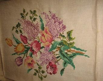 Vintage 1948 Tulips & Lilacs Flower Bouquet Finished Cross Stitch