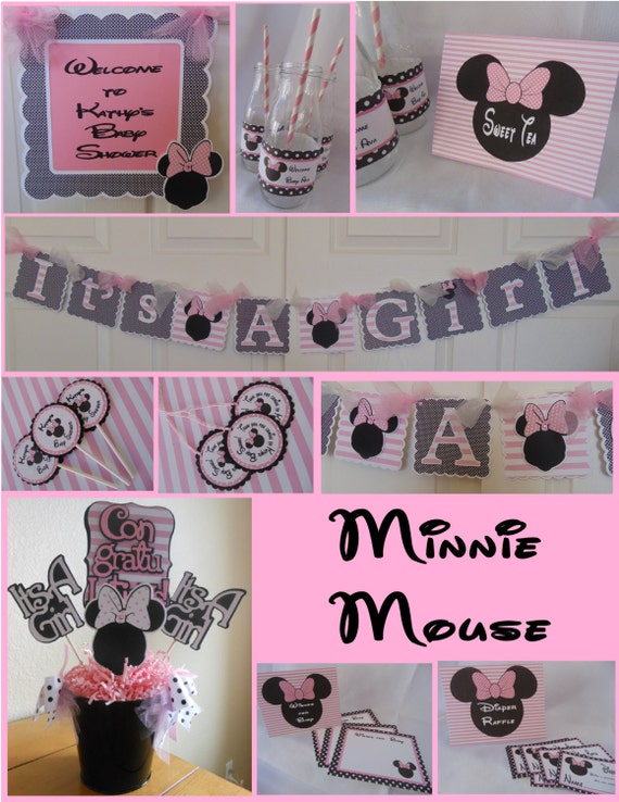 Minnie mouse baby shower party package shower decorations for Baby shower decoration packages