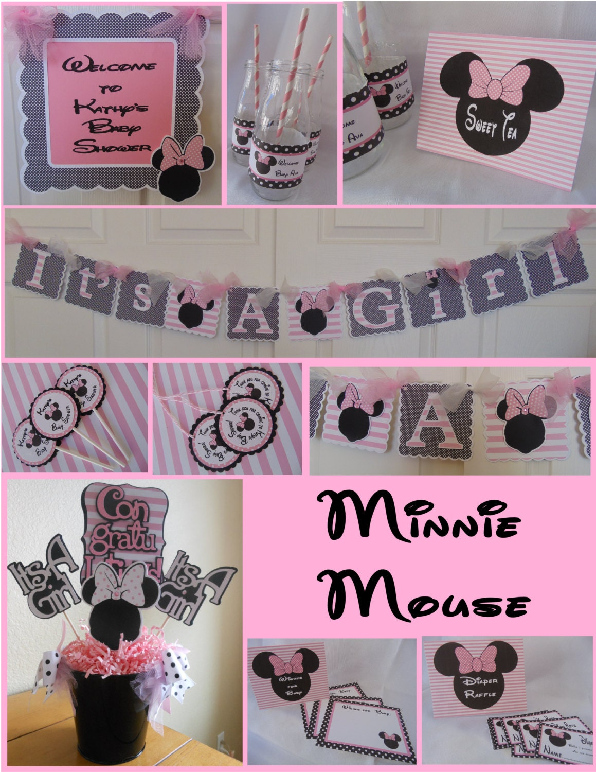 Baby Shower Themes Packages ~ Minnie mouse baby shower party package decorations