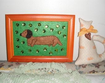 Hot Dog Art / Dachshund  / Felt Fiber Art / Room Decor / 5 x 7 art / pet lover gift