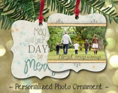 Personalized Double Sided Christmas Photo Metal Ornament to match any Tints and Prints by Tierney card design