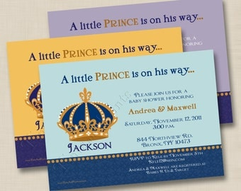 A Little Prince Is On His Way Custom Baby Shower Invitation or Birth Announcement Design