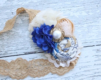 Royal Highness- cobalt royal blue and gold rosette chiffon and satin bloom headband