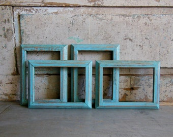 Picture Frames 5 x 7 Painted Distressed Set of 4 Turquoise