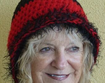 Bohemian Clothing Black Red Crochet Hat