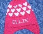Winter hat with hearts done in any color or size
