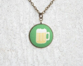 Green Beer, Fabric Button Pendant Necklace