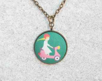 Pink Scooter, Fabric Button Pendant Necklace