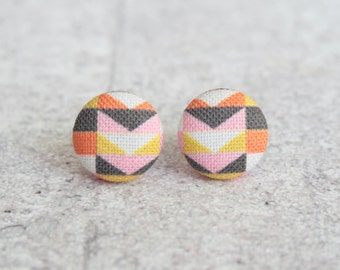 Warm Mod, Fabric Covered Button Earrings