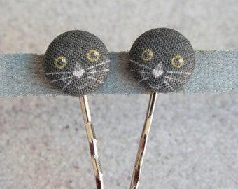Black Cat Fabric Covered Button Bobby Pin Pair