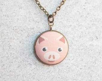 Pink Pig, Fabric Button Pendant Necklace