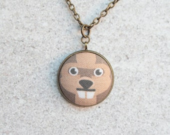 Beaver, Fabric Button Pendant Necklace