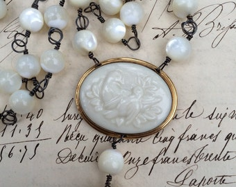 IVORY BIRDS - Double Strand Vintage Lenox China Necklace with Birds, Mother of Pearl, and Carved Bone Flower