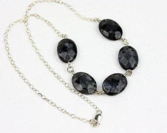 Faceted larvakite feldspar necklace on sterling silver chain- Norwegian Moonstone necklace- Dark moonstone jewelry- Flashy dark stone