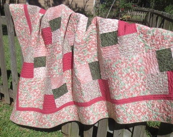 Patchwork Lap Quilt, Small Twin, Daybed Quilt, in Pinks, Green, Fuchsia, Cream, 85x62 inches