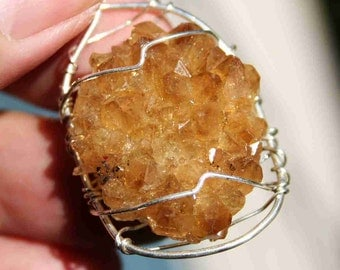 Citrine Flower Wire Wrapped in Sterling Silver Crystal Pendant