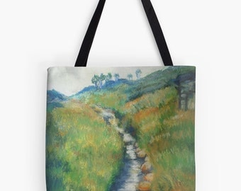 "Yorkshire Stream Landscape Scenery Tote Bag - Artist's Pastel Painting Design. Two Sizes Available Medium 16"" and Large 18"""