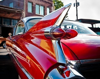 Classic Car Photo, Red Hot Rod, Fine Art Photography, Cadillac, Automobile Art, Retro Decor, Wall Art, 8 x 10 Print, Man Cave, Gift for Him