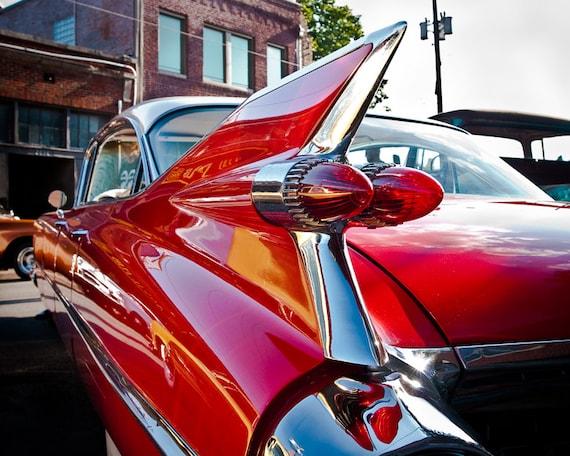 Classic Car Photo, Red Hot Rod, Fine Art Photography, Cadillac, Automobile Art, Retro Decor, Wall Art, 8 x 10 Print, Man Cave, Gift for Him