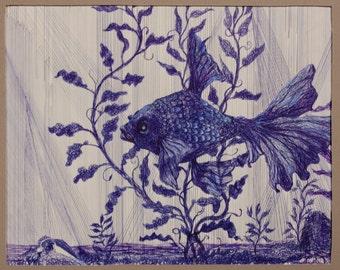 Original Ink Drawing Goldfish by FRall