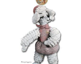 Poodle Chic Vintage Knitting Pattern Stuffed Toy Instant Download Digital PDF - PrettyPatternsPlease