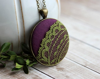 Bohemian Jewelry, Green, Purple Necklace, Moss Pendant, Eclectic, Boho, Colorful Fabric and Lace