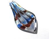 Lampwork Glass Spoon Pendant VINTAGE Glass Pendant Leaf Drop Blue Silver Copper Ready to Wear Vintage Glass Spoon Pendant Jewelry (D3)