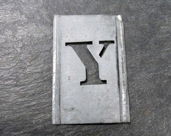 """1"""" Letter Y Stencil VINTAGE Zinc Stencil Letter Y for Scrapbooking Altered Art Assemblage Mixed Media Supplies Zinc Stencil Letter Y (T16)"""