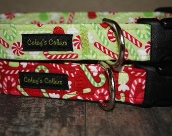 "Dog Collar ""Christmas Candy"" Christmas Dog Collars"