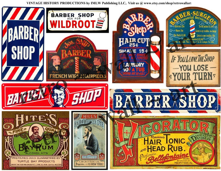 Barber Shop Decor : DIGITAL Barber Shop Signs Barber Shop Clip by RarePaperDetective