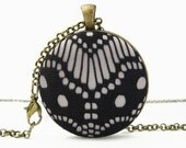 Geometric black lace pendant for art deco wedding - long bridesmaids necklace as art deco jewelry - roaring 1920's Great Gatsby party