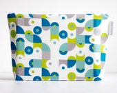 cosmetic bag. large wet bag. teal mod print. by Cloud Love Baby Australia