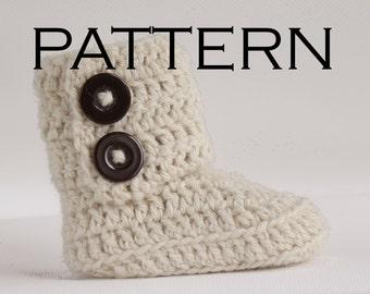 Two Button Wrap Baby Boot Crochet Pattern - PDF