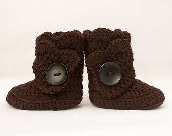 Chocolate Brown Infant Crochet Shell Wrap Boots- Choose Your Size