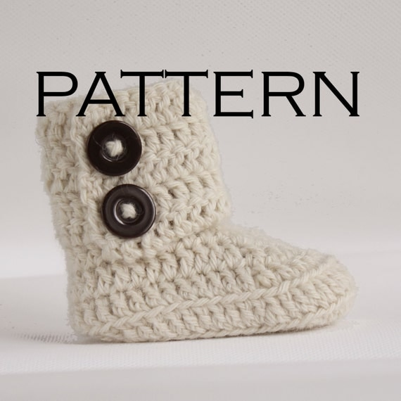 Crochet Wrap Around Button Baby Boots Pattern : Two Button Wrap Baby Boot Crochet Pattern PDF