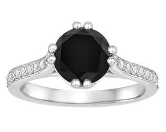 1.88 Carat Fancy Black Diamond Engagement Ring 14K White Gold Unique Certified HandMade Ring Pave Set