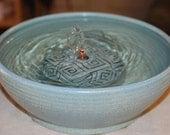"Ceramic Cat Fountain, Tabletop Fountain - Foodsafe Ceramic - 9.5 Inch Diameter - ""Geo Jade"""